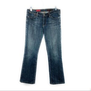 AG The Kiss Straight Leg Dark Wash Mid Rise